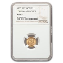 1903 Gold $1.00 Louisiana Purchase Jefferson MS-65 NGC