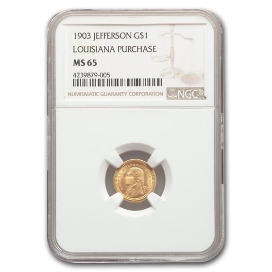 1903 Gold $1.00 Louisiana Purchase Jefferson MS-65 NGC