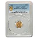 1903 Gold $1.00 Louisiana Purchase Jefferson MS-65 PCGS