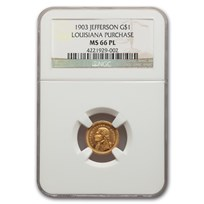 1903 Gold $1.00 Louisiana Purchase Jefferson MS-66 NGC (PL)