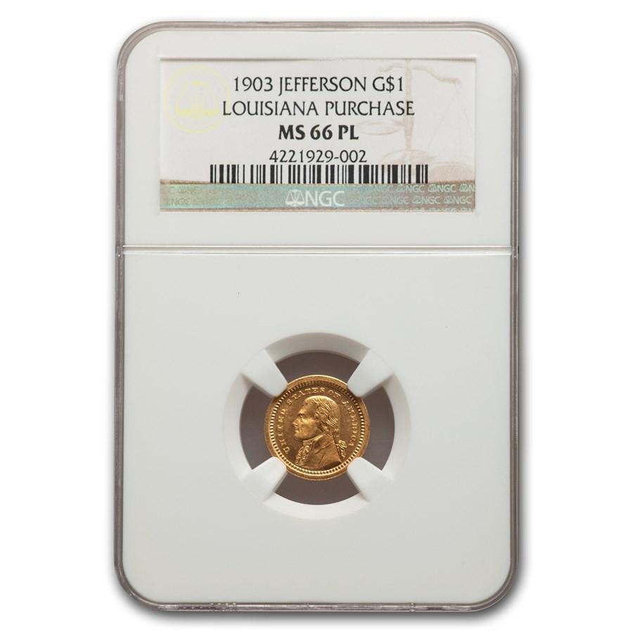 1903 Gold $1.00 Louisiana Purchase Jefferson MS-66 NGC (PL)