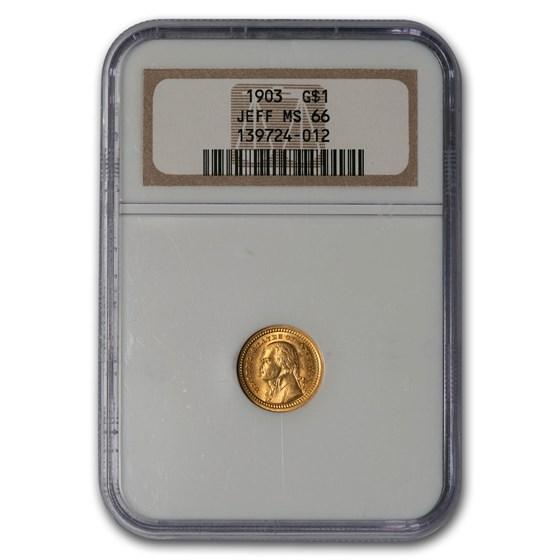 1903 Gold $1.00 Louisiana Purchase Jefferson MS-66 NGC