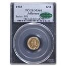 1903 Gold $1.00 Louisiana Purchase Jefferson MS-66 PCGS CAC