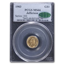 1903 Gold $1.00 Louisiana Purchase Jefferson MS-66 PCGS CAC