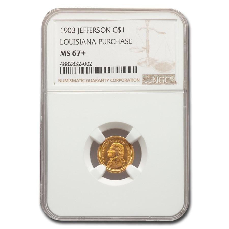 1903 Gold $1.00 Louisiana Purchase Jefferson MS-67+ NGC