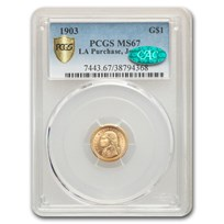 1903 Gold $1.00 Louisiana Purchase Jefferson MS-67 PCGS CAC