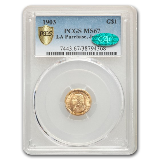 1903 Gold $1.00 Louisiana Purchase Jefferson MS-67 PCGS CAC