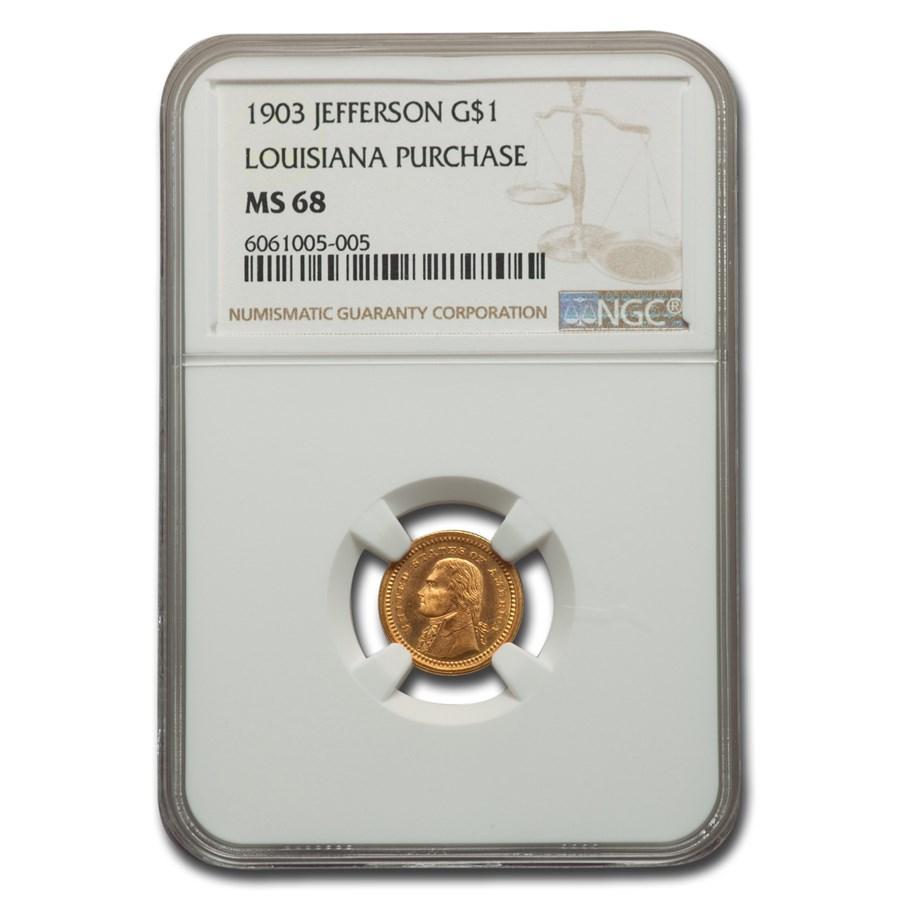 1903 Gold $1.00 Louisiana Purchase Jefferson MS-68 NGC