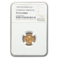 1903 Gold $1.00 Louisiana Purchase Jefferson PF-63 Cameo NGC