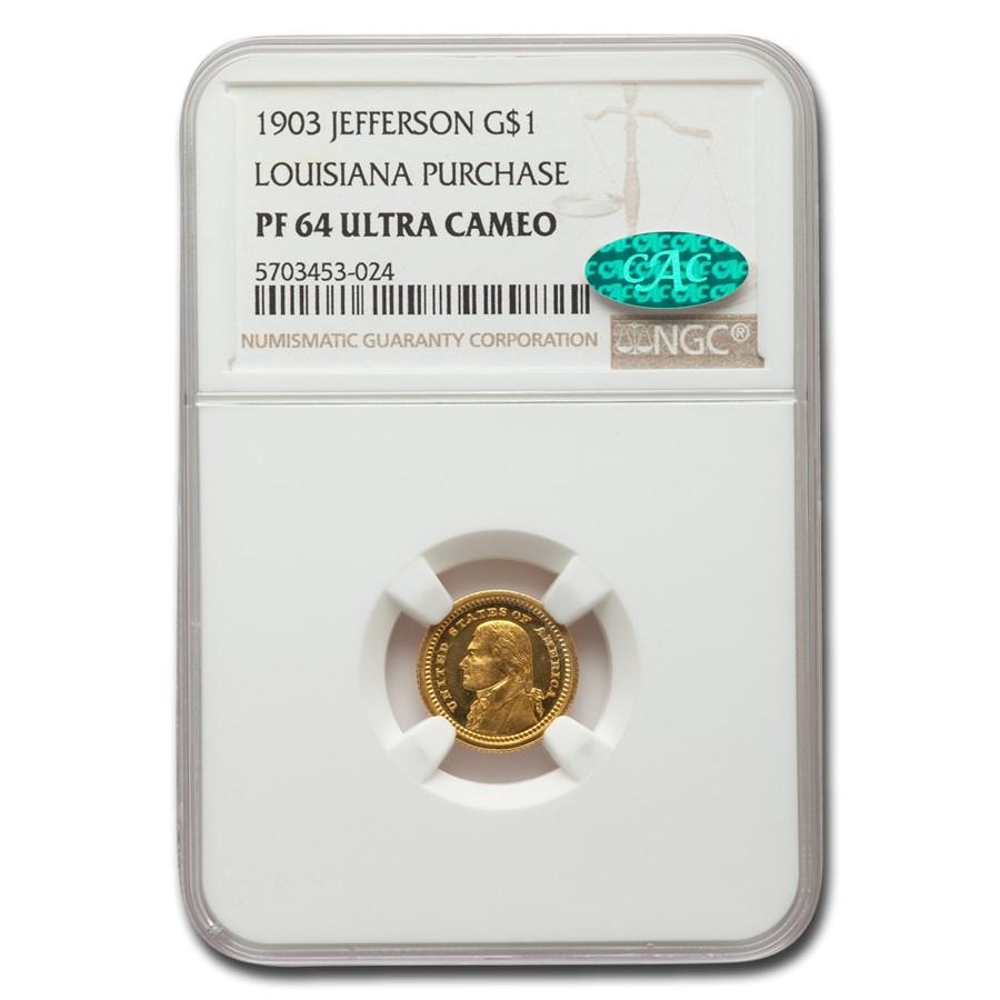1903 Gold $1.00 Louisiana Purchase Jefferson PF-64 UCAM NGC CAC