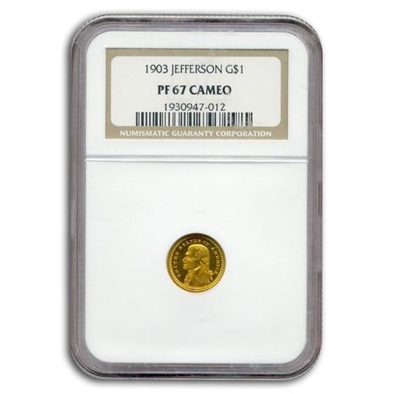 1903 Gold $1.00 Louisiana Purchase Jefferson PF-67 Cameo NGC
