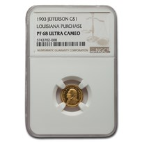 1903 Gold $1.00 Louisiana Purchase Jefferson PF-68 UCAM NGC
