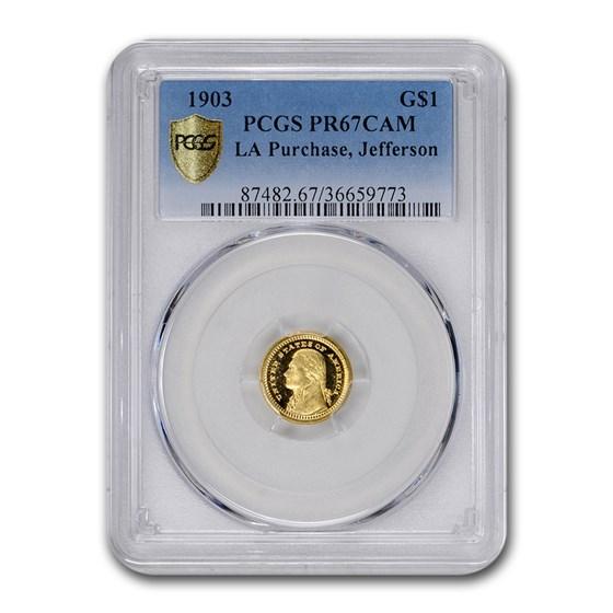 1903 Gold $1.00 Louisiana Purchase Jefferson PR-67 Cameo PCGS