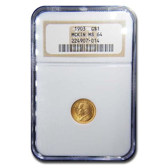 1903 Gold $1.00 Louisiana Purchase McKinley MS-64 NGC