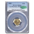 1903 Gold $1.00 Louisiana Purchase McKinley MS-64 PCGS CAC