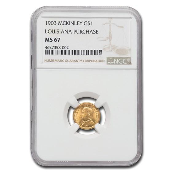 1903 Gold $1.00 Louisiana Purchase McKinley MS-67 NGC