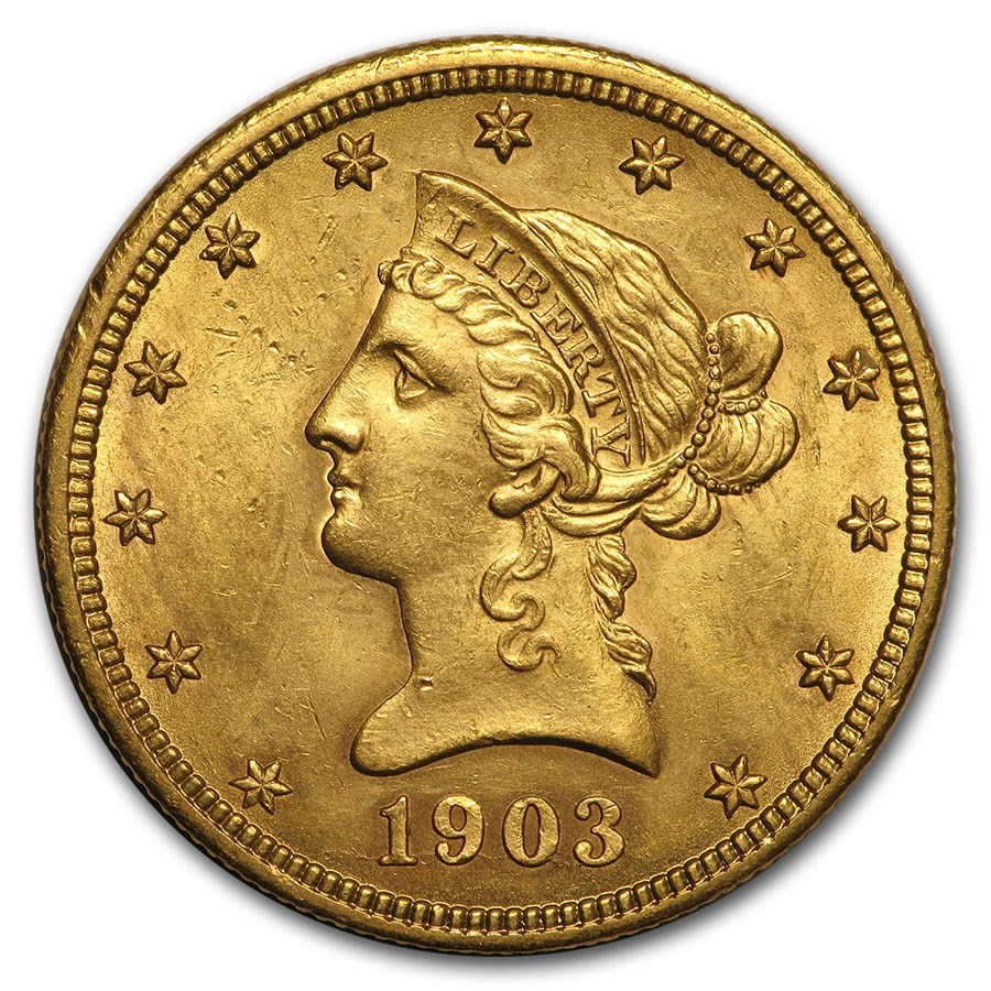 1903-O $10 Liberty Gold Eagle AU Details (Cleaned)
