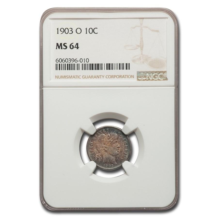 1903-O Barber Dime MS-64 NGC