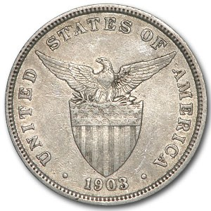1903 Philippines Silver 50 Centavos XF
