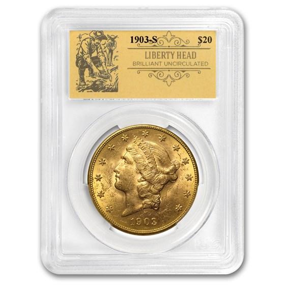 1903-S $20 Liberty Gold Double Eagle BU PCGS (Prospector Label)