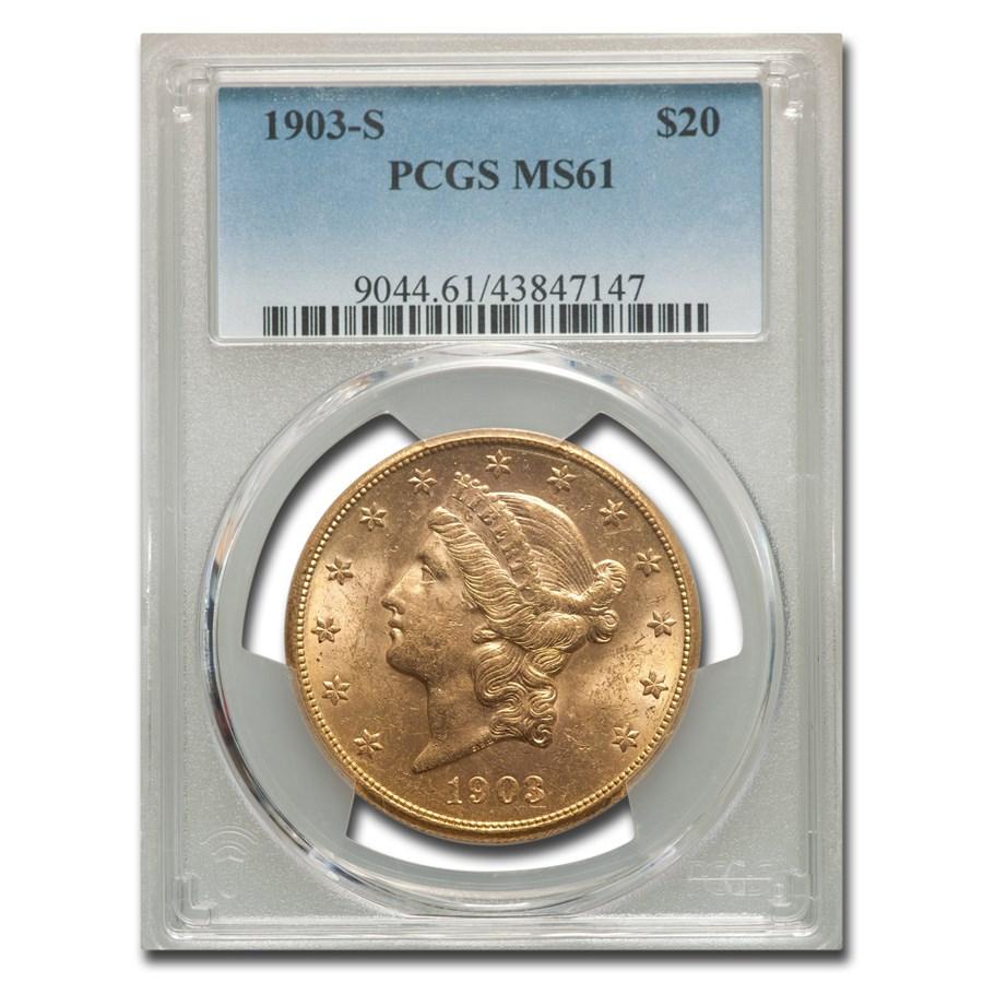 1903-S $20 Liberty Gold Double Eagle MS-61 PCGS