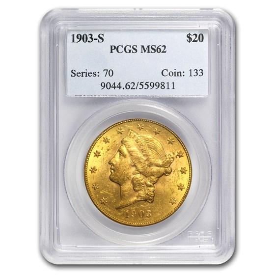 1903-S $20 Liberty Gold Double Eagle MS-62 PCGS