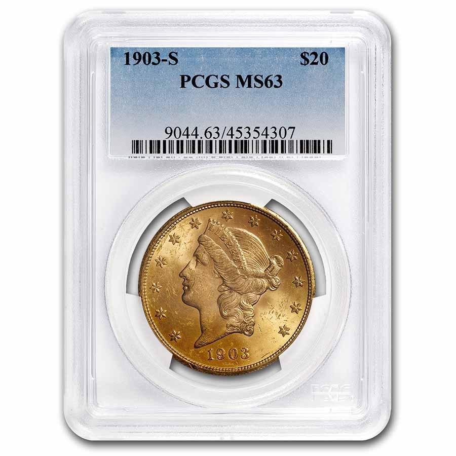 1903-S $20 Liberty Gold Double Eagle MS-63 PCGS