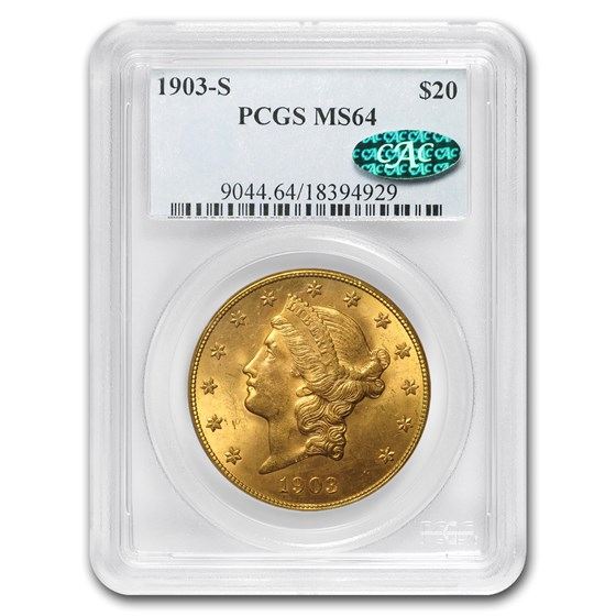 1903-S $20 Liberty Gold Double Eagle MS-64 PCGS (CAC)