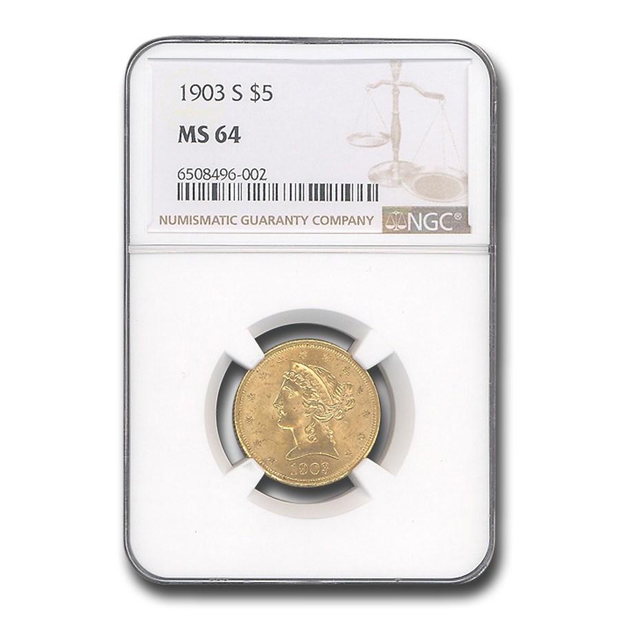 1903-S $5.00 Liberty Gold Half Eagle MS-64 NGC