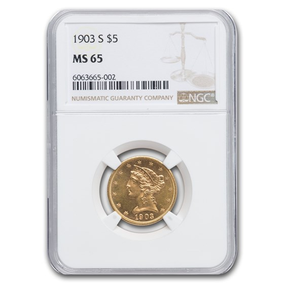 1903-S $5 Liberty Gold Half Eagle MS-65 NGC