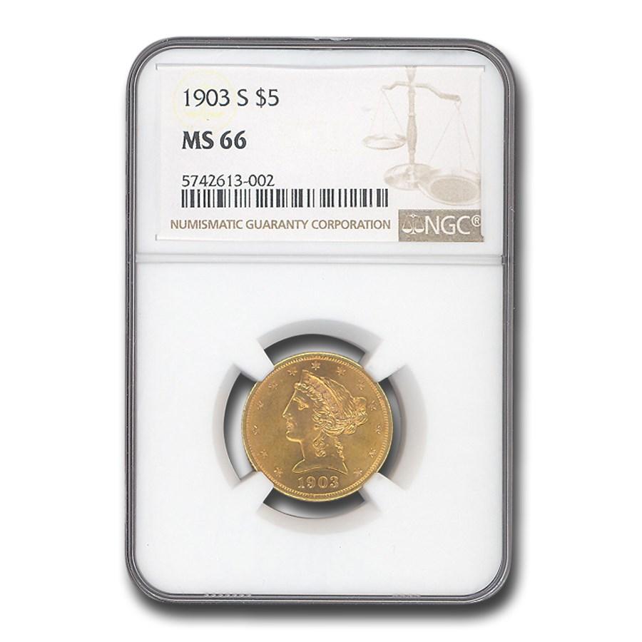 1903-S $5 Liberty Gold Half Eagle MS-66 NGC