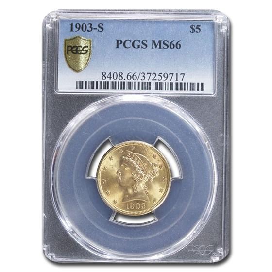 1903-S $5 Liberty Gold Half Eagle MS-66 PCGS
