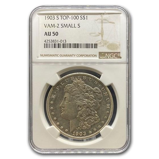 1903-S Morgan Dollar AU-50 NGC (VAM-2 Small S Top-100)