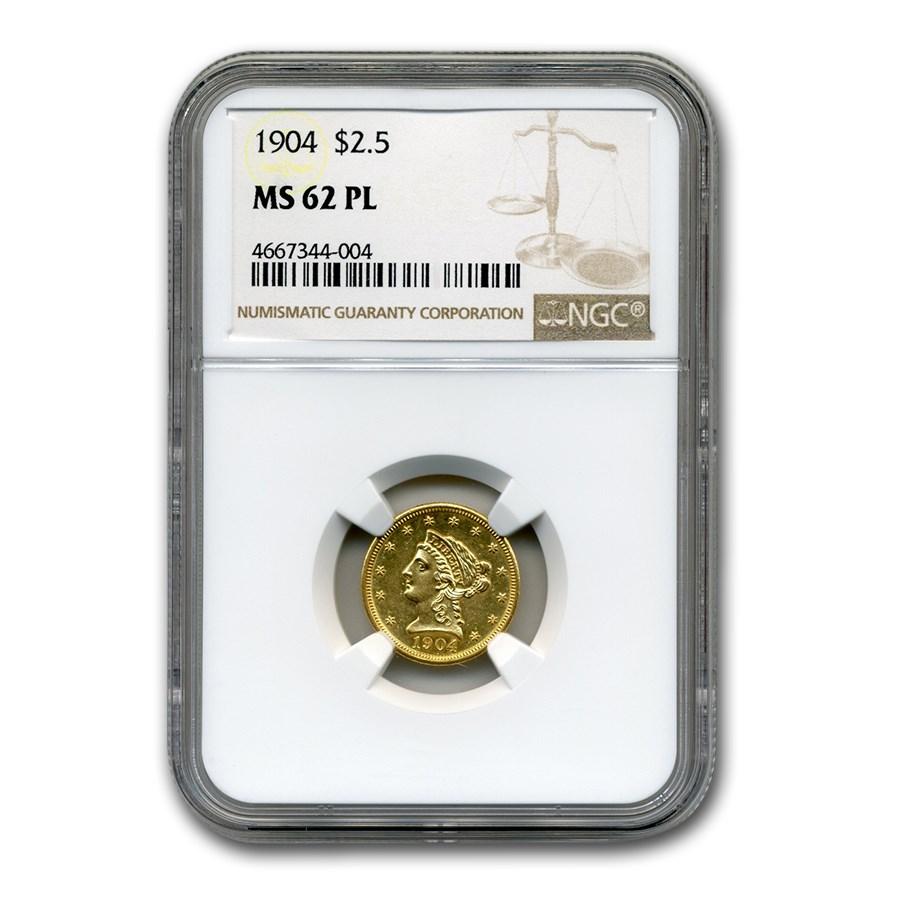 1904 $2.50 Liberty Gold Quarter Eagle MS-62 NGC (PL)