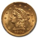 1904 $2.50 Liberty Gold Quarter Eagle MS-65 PCGS