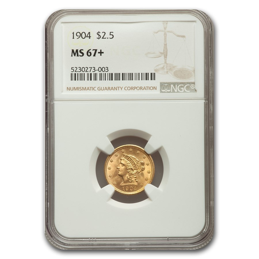1904 $2.50 Liberty Gold Quarter Eagle MS-67+ NGC