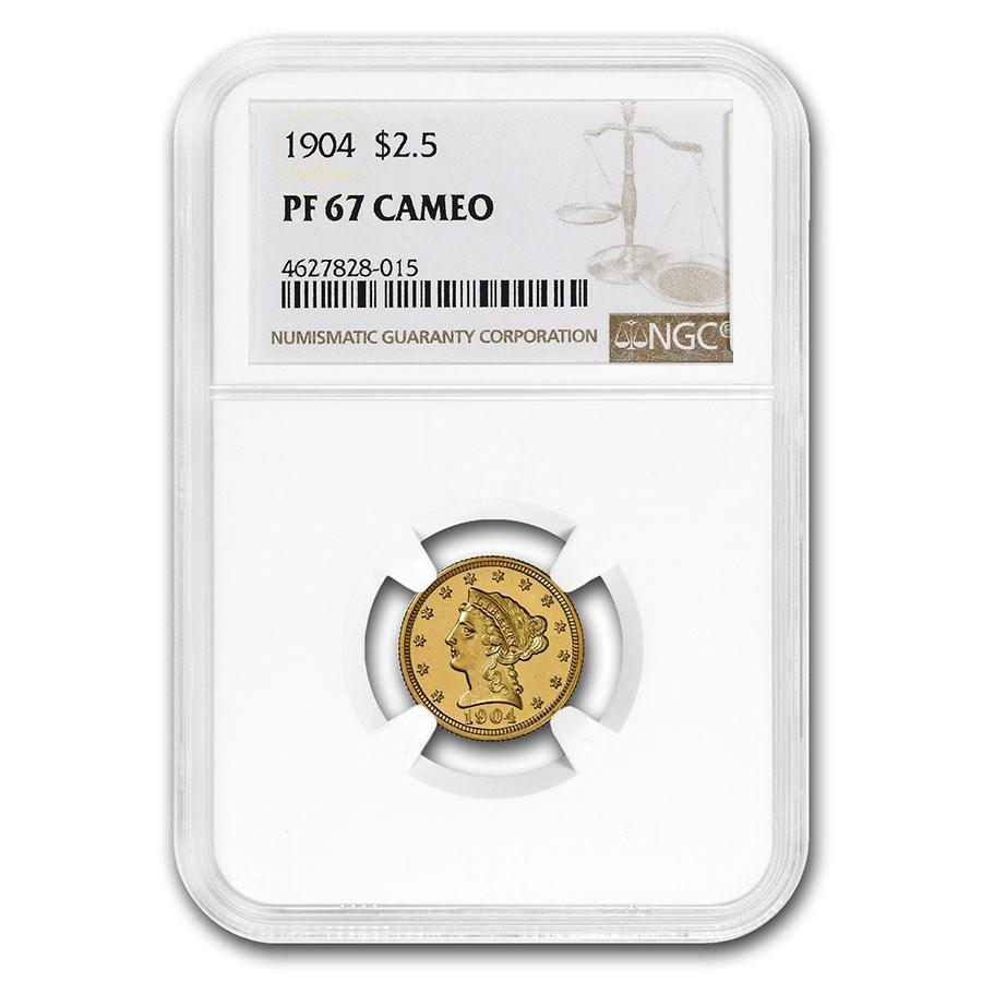 1904 $2.50 Liberty Gold Quarter Eagle PF-67 NGC (Cameo)