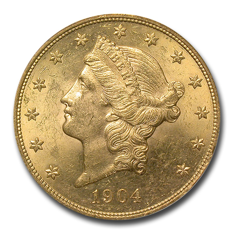 1904 $20 Liberty Gold Double Eagle MS-60 PCGS CAC