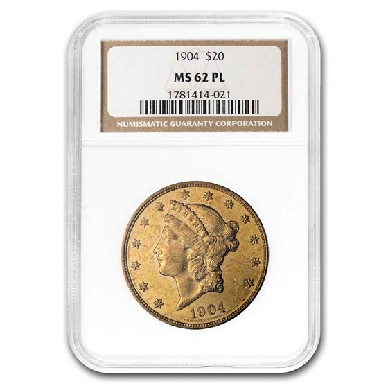 1904 $20 Liberty Gold Double Eagle MS-62 NGC (PL)