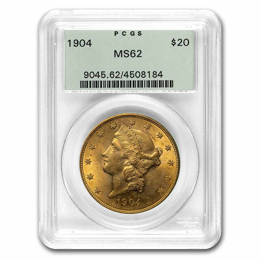1904 $20 Liberty Gold Double Eagle MS-62 PCGS (OGH)