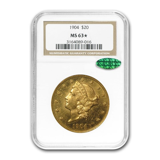 1904 $20 Liberty Gold Double Eagle MS-63* NGC (CAC)