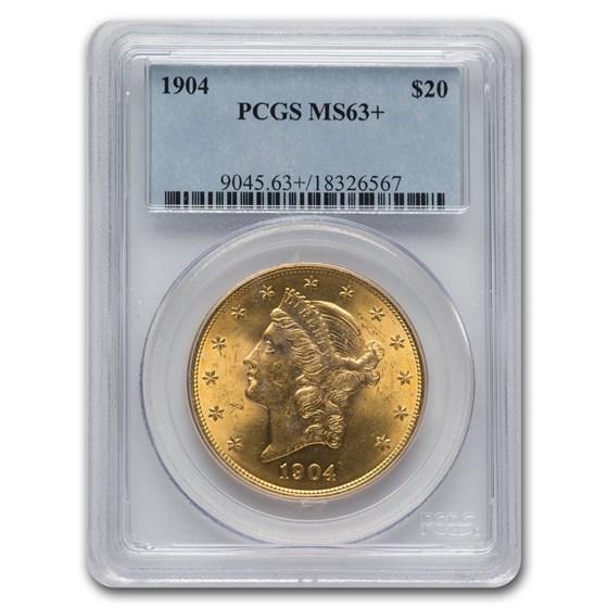 1904 $20 Liberty Gold Double Eagle MS-63+ PCGS