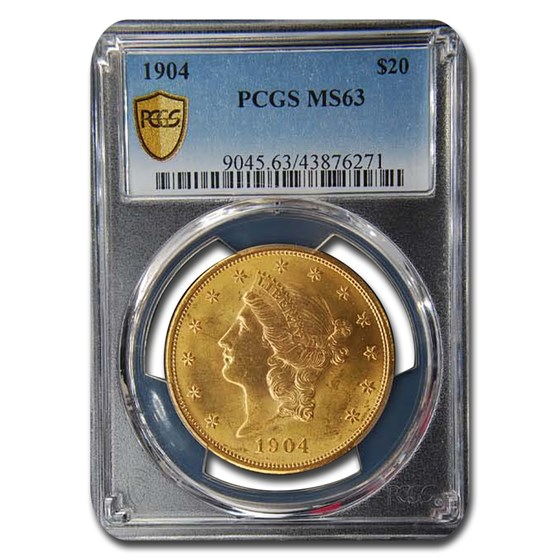 1904 $20 Liberty Gold Double Eagle MS-63 PCGS