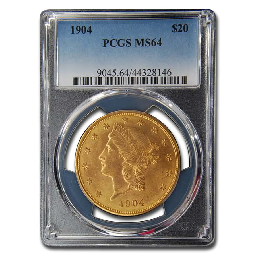 1904 $20 Liberty Gold Double Eagle MS-64 PCGS