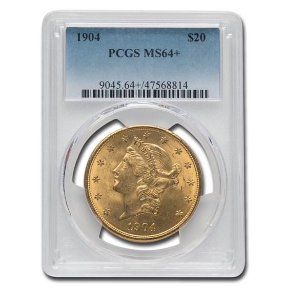 1904 $20 Liberty Gold Double Eagle MS-64+ PCGS