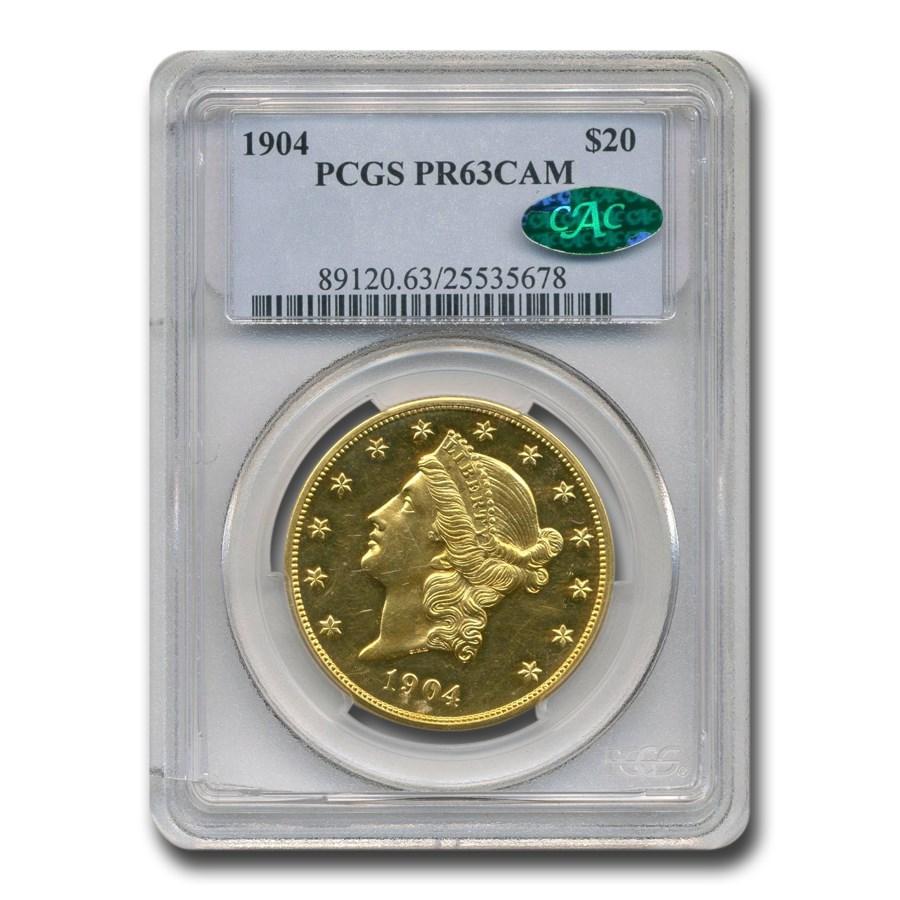 1904 $20 Liberty Gold Double Eagle PR-63 Cameo PCGS CAC