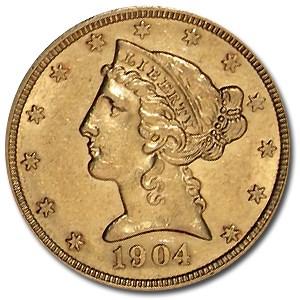 1904 $5 Liberty Gold Half Eagle AU