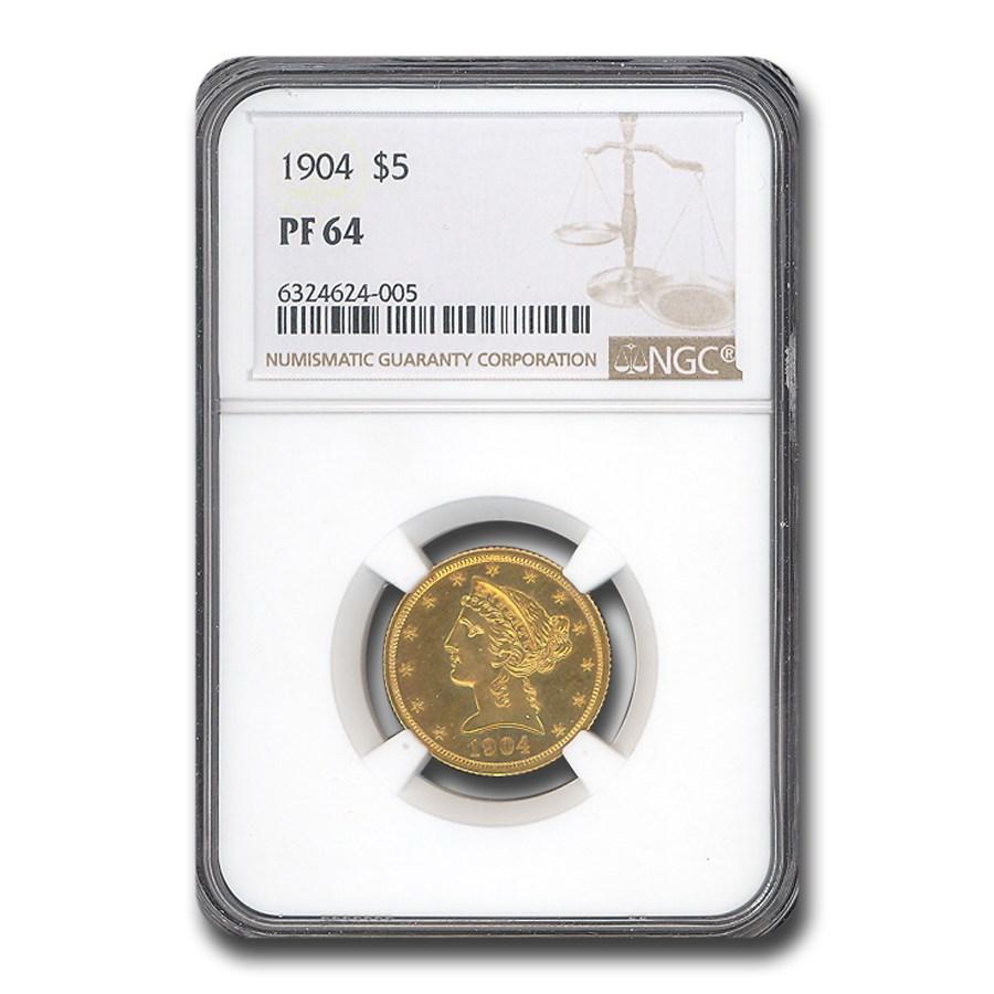 1904 $5 Liberty Gold Half Eagle PF-64 NGC