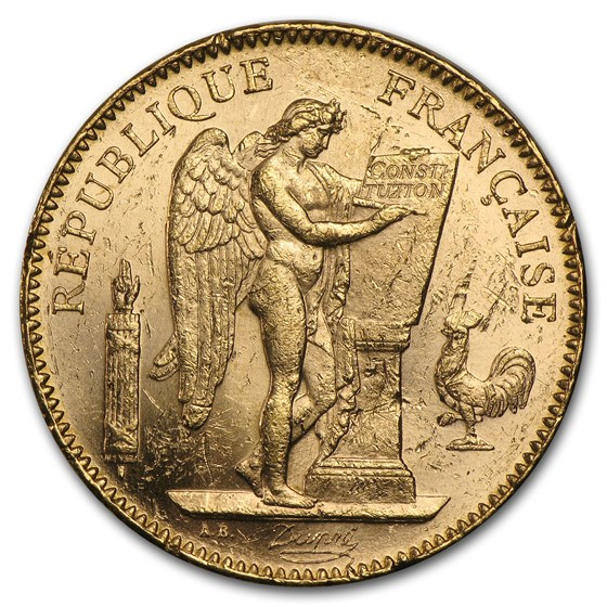 1904-A France Gold 50 Francs Angel BU