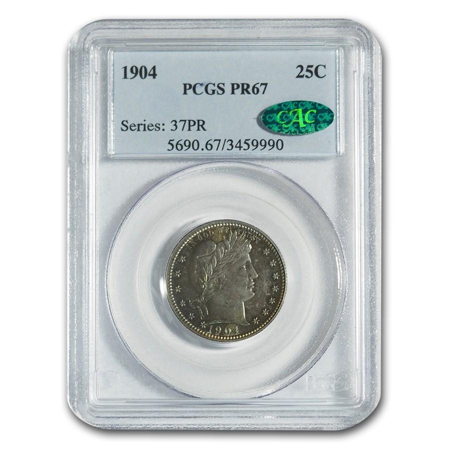 1904 Barber Quarter PR-67 PCGS CAC